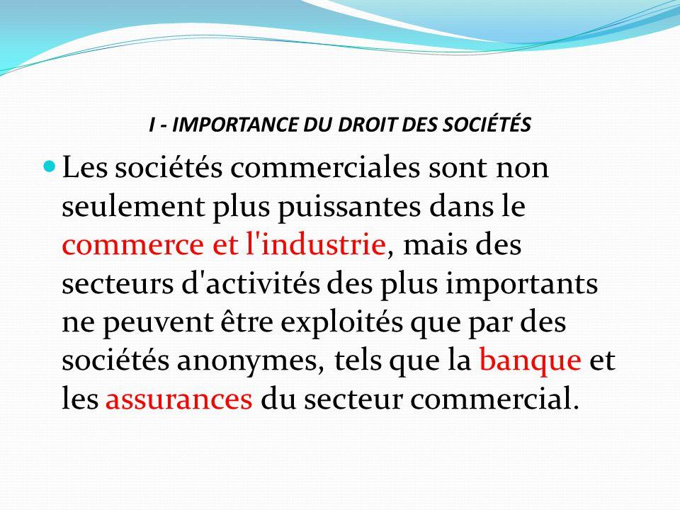 I - IMPORTANCE DU DROIT DES SOCIÉTÉS Les sociétés commerciales sont non seulement plus puissantes dans le commerce et l'industrie, mais des secteurs d