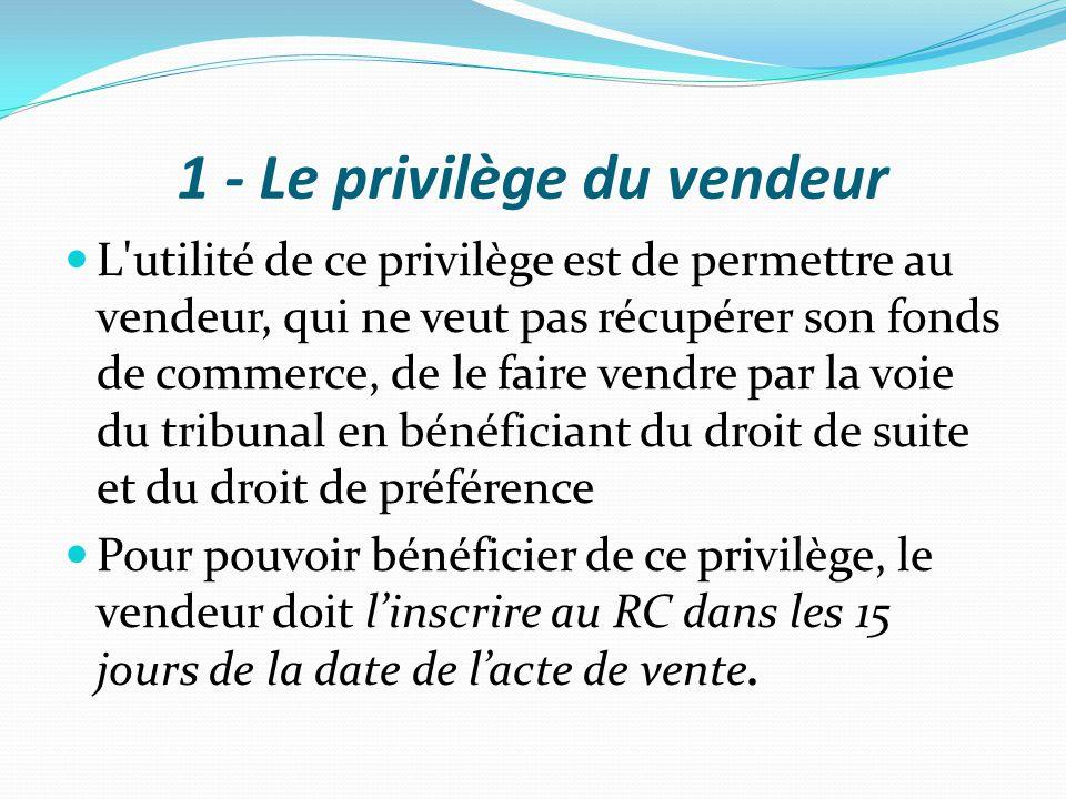 1 - Le privilège du vendeur L'utilité de ce privilège est de permettre au vendeur, qui ne veut pas récupérer son fonds de commerce, de le faire vendre