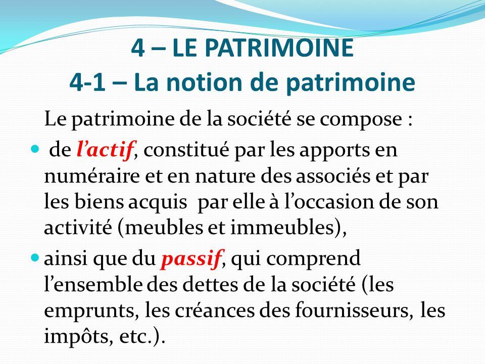 4 – LE PATRIMOINE 4-1 – La notion de patrimoine Le patrimoine de la société se compose : de l'actif, constitué par les apports en numéraire et en natu