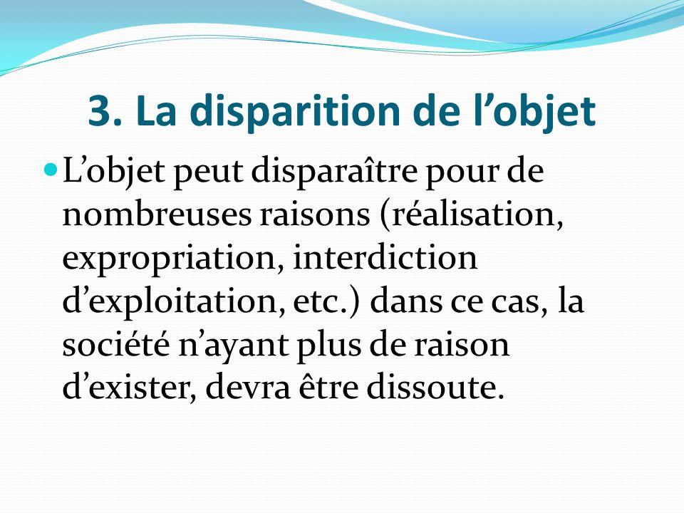 3. La disparition de l'objet L'objet peut disparaître pour de nombreuses raisons (réalisation, expropriation, interdiction d'exploitation, etc.) dans
