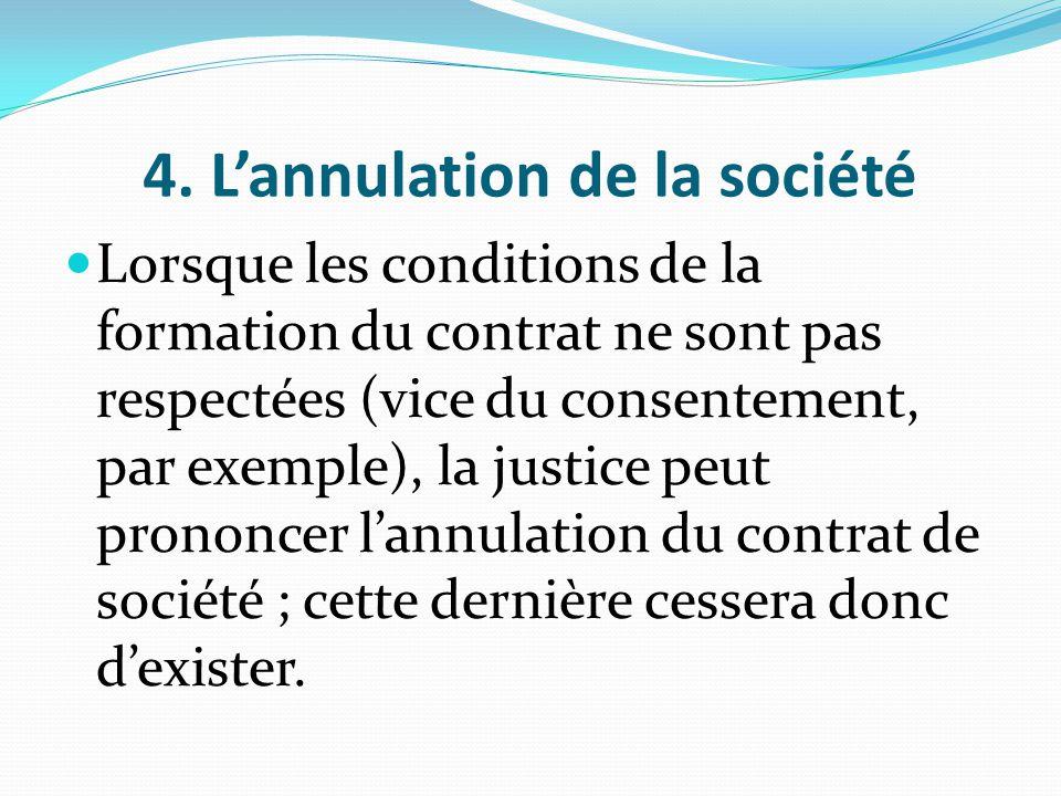 4. L'annulation de la société Lorsque les conditions de la formation du contrat ne sont pas respectées (vice du consentement, par exemple), la justice