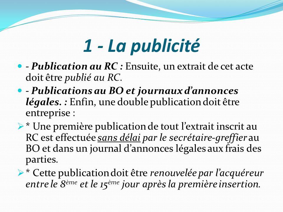 1 - La publicité - Publication au RC : Ensuite, un extrait de cet acte doit être publié au RC. - Publications au BO et journaux d'annonces légales. :
