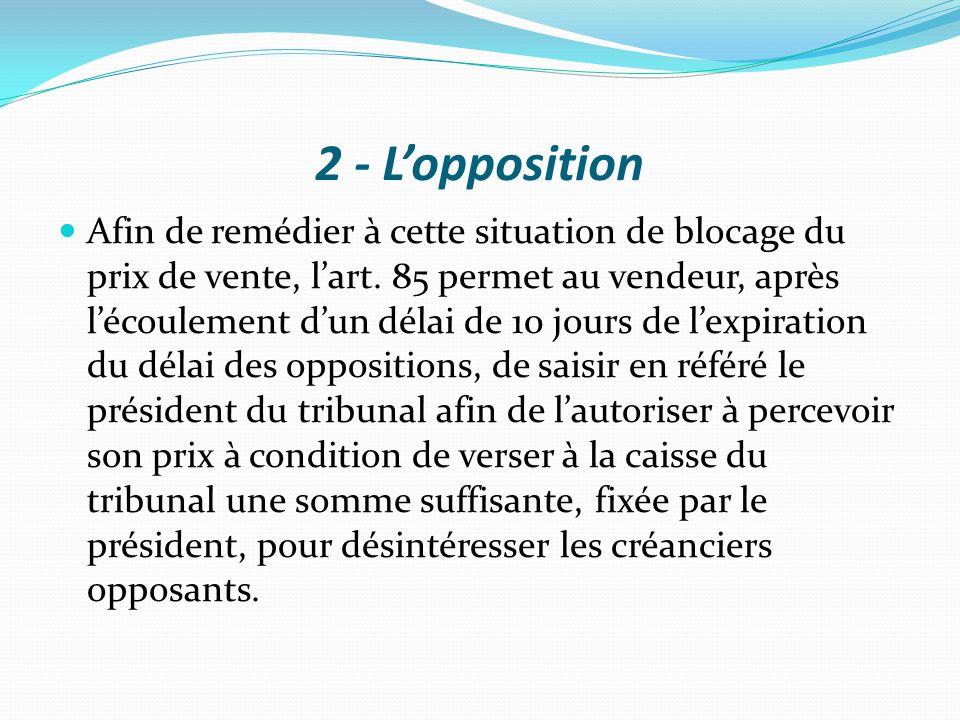 2 - L'opposition Afin de remédier à cette situation de blocage du prix de vente, l'art. 85 permet au vendeur, après l'écoulement d'un délai de 10 jour