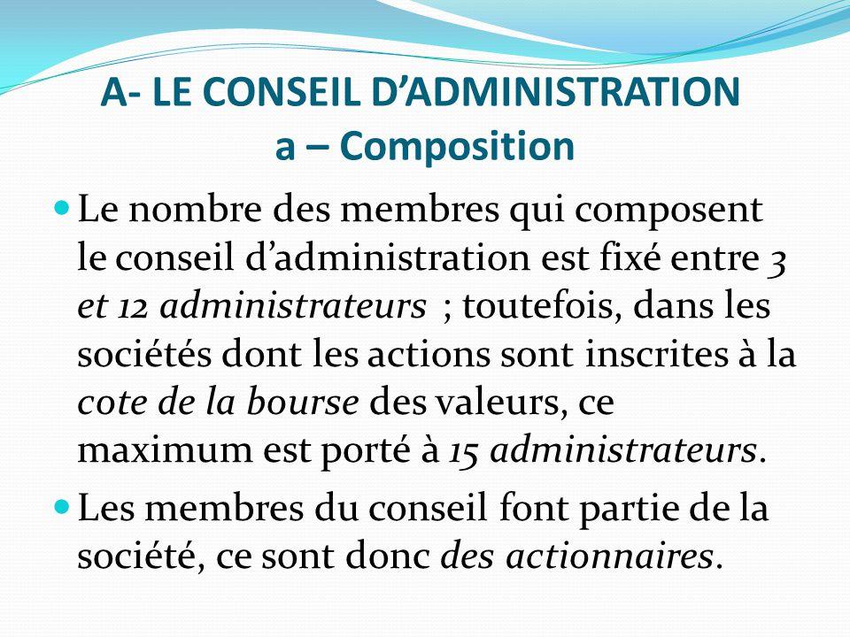 A- LE CONSEIL D'ADMINISTRATION a – Composition Le nombre des membres qui composent le conseil d'administration est fixé entre 3 et 12 administrateurs