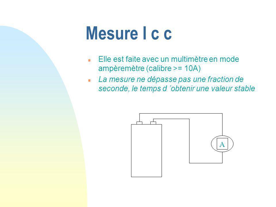 Mesure I c c n Elle est faite avec un multimètre en mode ampèremètre (calibre >= 10A) n La mesure ne dépasse pas une fraction de seconde, le temps d 'obtenir une valeur stable A