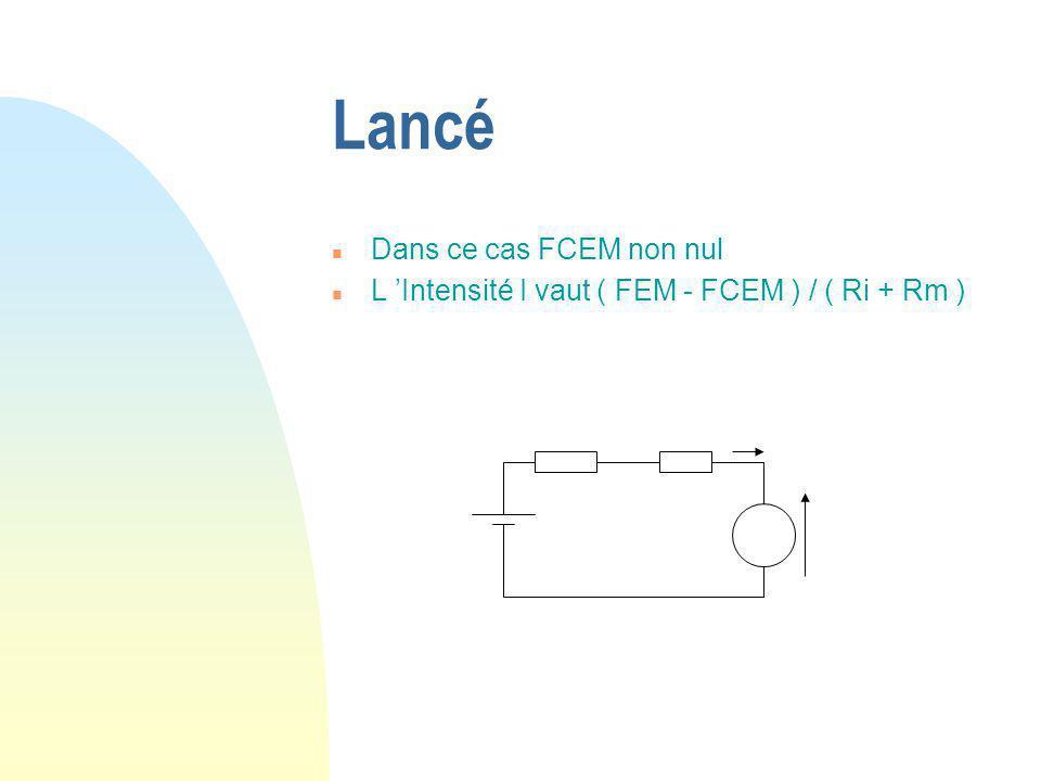 Lancé n Dans ce cas FCEM non nul n L 'Intensité I vaut ( FEM - FCEM ) / ( Ri + Rm )