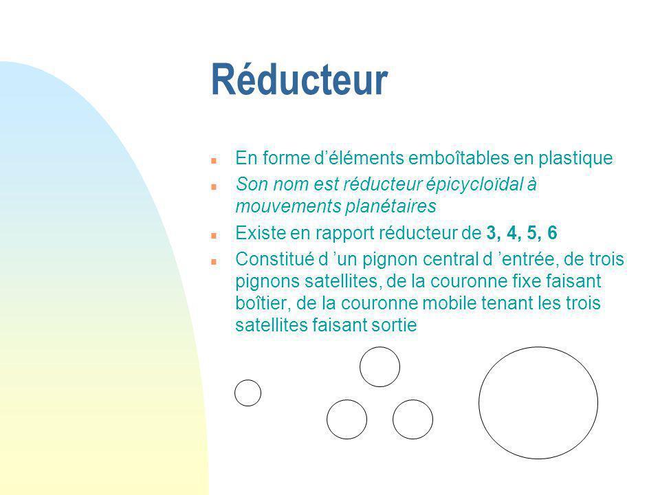 Réducteur n En forme d'éléments emboîtables en plastique n Son nom est réducteur épicycloïdal à mouvements planétaires n Existe en rapport réducteur d
