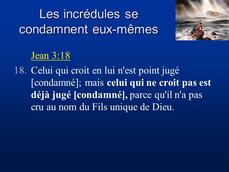 Les incrédules se condamnent eux-mêmes Jean 3:18 18.Celui qui croit en lui n est point jugé [condamné]; mais celui qui ne croit pas est déjà jugé [condamné], parce qu il n a pas cru au nom du Fils unique de Dieu.