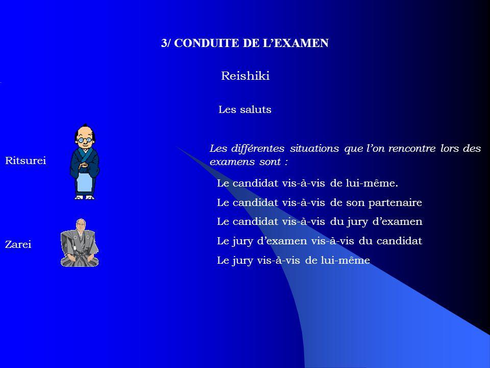 3/ CONDUITE DE L'EXAMEN Reishiki Les saluts Ritsurei Zarei Les différentes situations que l'on rencontre lors des examens sont : Le candidat vis-à-vis de lui-même.
