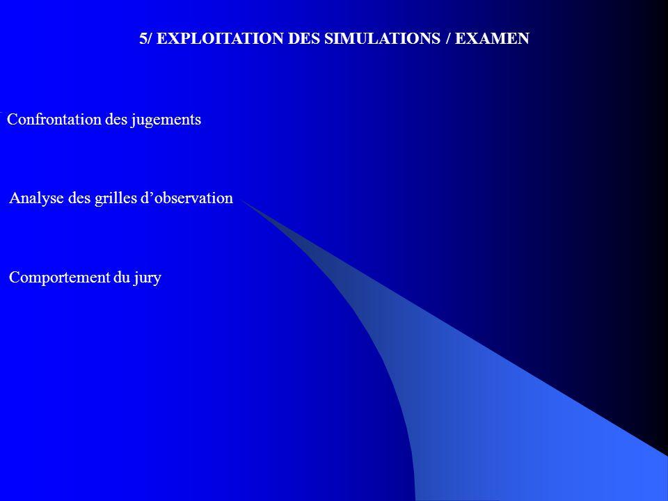 Confrontation des jugements 5/ EXPLOITATION DES SIMULATIONS / EXAMEN Analyse des grilles d'observation Comportement du jury
