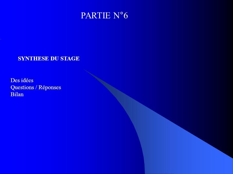 PARTIE N°6 SYNTHESE DU STAGE Des idées Questions / Réponses Bilan