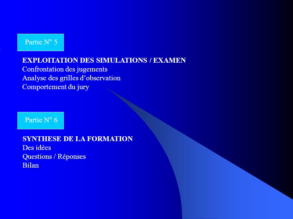 EXPLOITATION DES SIMULATIONS / EXAMEN Confrontation des jugements Analyse des grilles d'observation Comportement du jury Partie N° 5 Partie N° 6 SYNTH