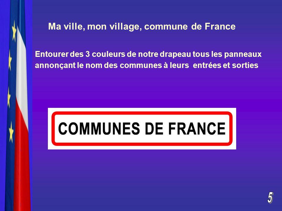 Ma ville, mon village, commune de France Entourer des 3 couleurs de notre drapeau tous les panneaux annonçant le nom des communes à leurs entrées et sorties