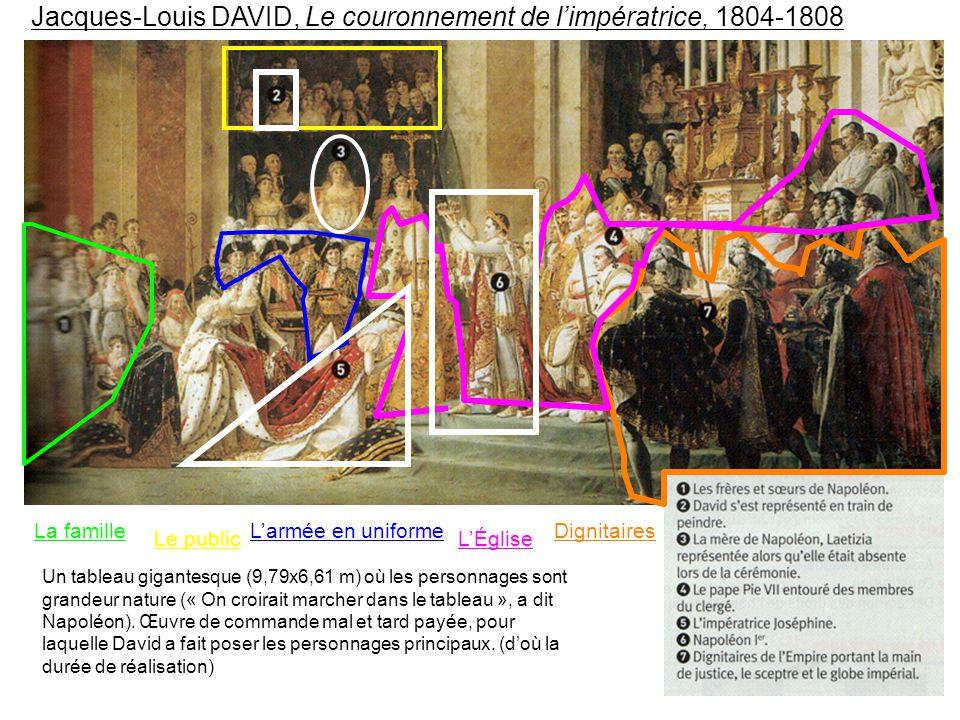 Jacques-Louis DAVID, Le couronnement de l'impératrice, 1804-1808 Un tableau gigantesque (9,79x6,61 m) où les personnages sont grandeur nature (« On croirait marcher dans le tableau », a dit Napoléon).