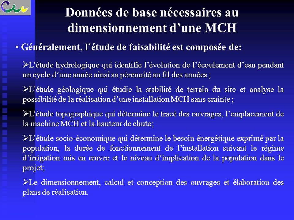 Données de base nécessaires au dimensionnement d'une MCH Généralement, l'étude de faisabilité est composée de:  L'étude hydrologique qui identifie l'