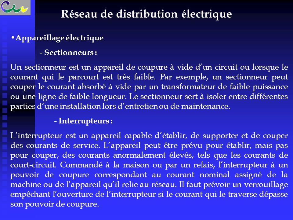 R é seau de distribution é lectrique Appareillage électrique - Sectionneurs : Un sectionneur est un appareil de coupure à vide d'un circuit ou lorsque