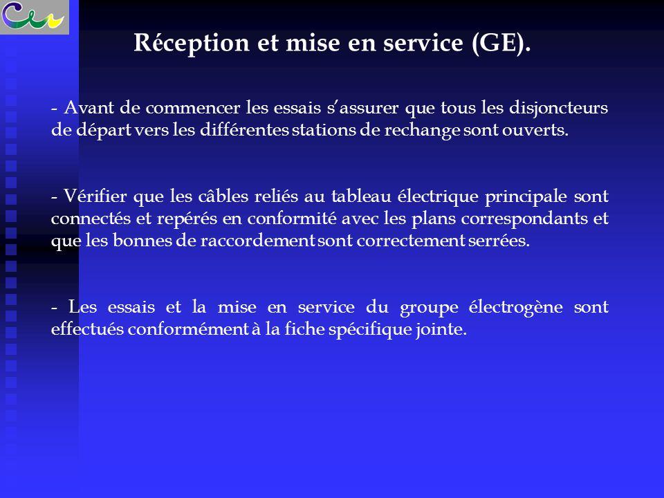 R é ception et mise en service (GE). - Avant de commencer les essais s'assurer que tous les disjoncteurs de départ vers les différentes stations de re