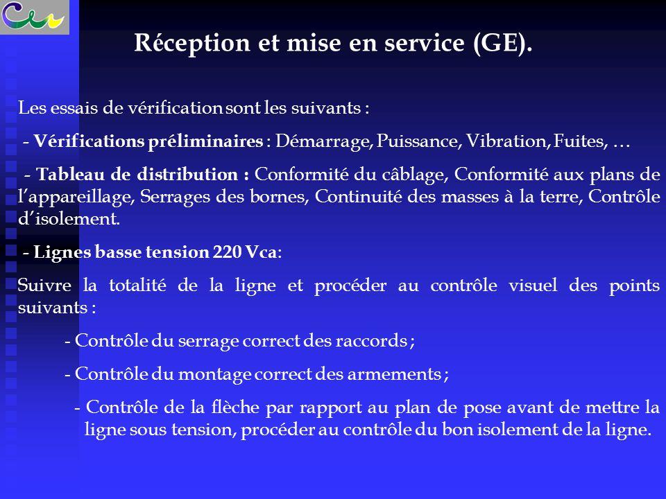 R é ception et mise en service (GE). Les essais de vérification sont les suivants : - Vérifications préliminaires : Démarrage, Puissance, Vibration, F