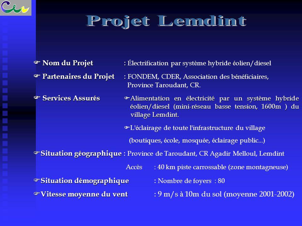  Nom du Projet :  Nom du Projet : É lectrification par syst è me hybride é olien/diesel  Partenaires du Projet :  Partenaires du Projet : FONDEM,