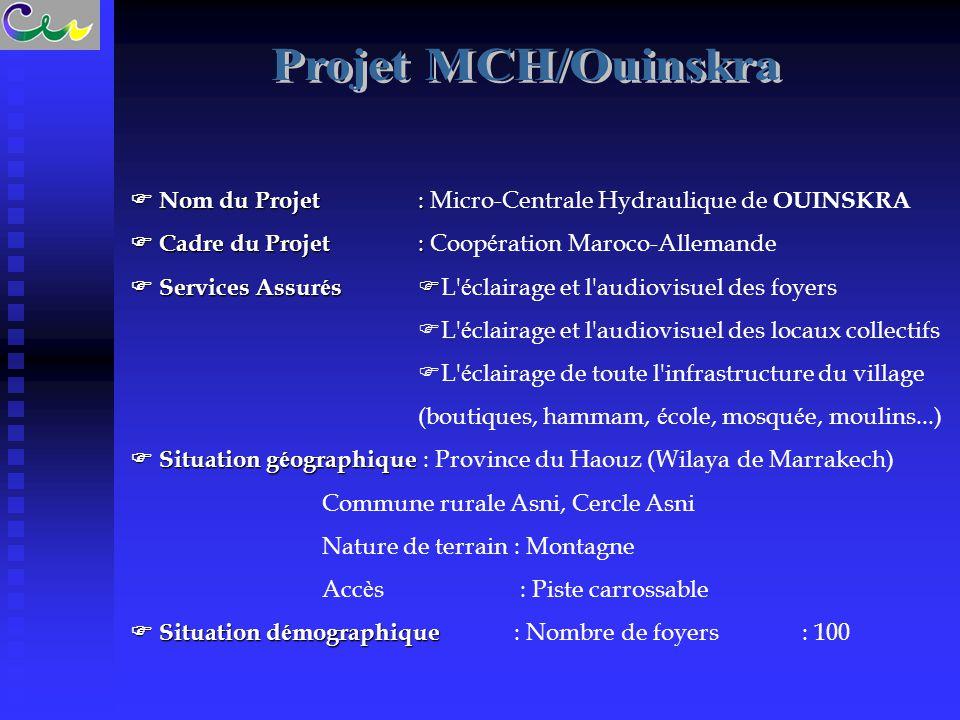  Nom du Projet :  Nom du Projet : Micro-Centrale Hydraulique de OUINSKRA  Cadre du Projet :  Cadre du Projet : Coop é ration Maroco-Allemande  Se