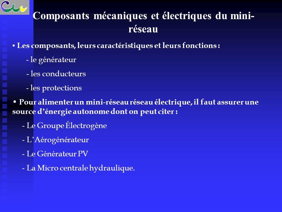 Composants mécaniques et électriques du mini- réseau Les composants, leurs caract é ristiques et leurs fonctions : - le g é n é rateur - les conducteurs - les protections Pour alimenter un mini-r é seau r é seau é lectrique, il faut assurer une source d 'é nergie autonome dont on peut citer : - Le Groupe É lectrog è ne - L ' A é rog é n é rateur  - Le G é n é rateur PV - La Micro centrale hydraulique.