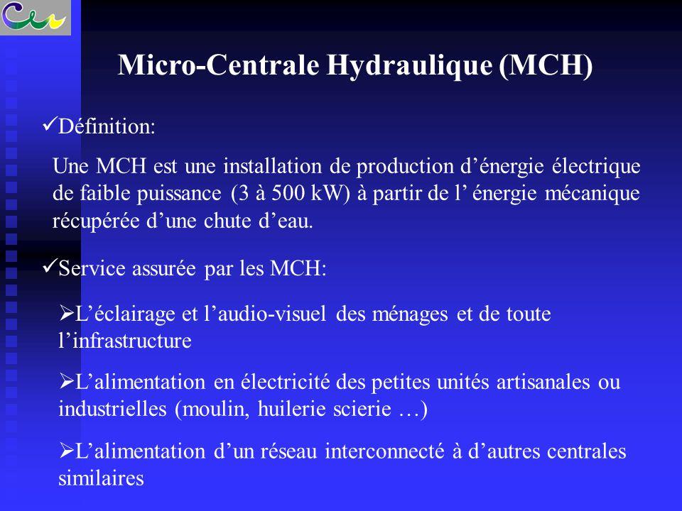 Micro-Centrale Hydraulique (MCH) Une MCH est une installation de production d'énergie électrique de faible puissance (3 à 500 kW) à partir de l' énerg
