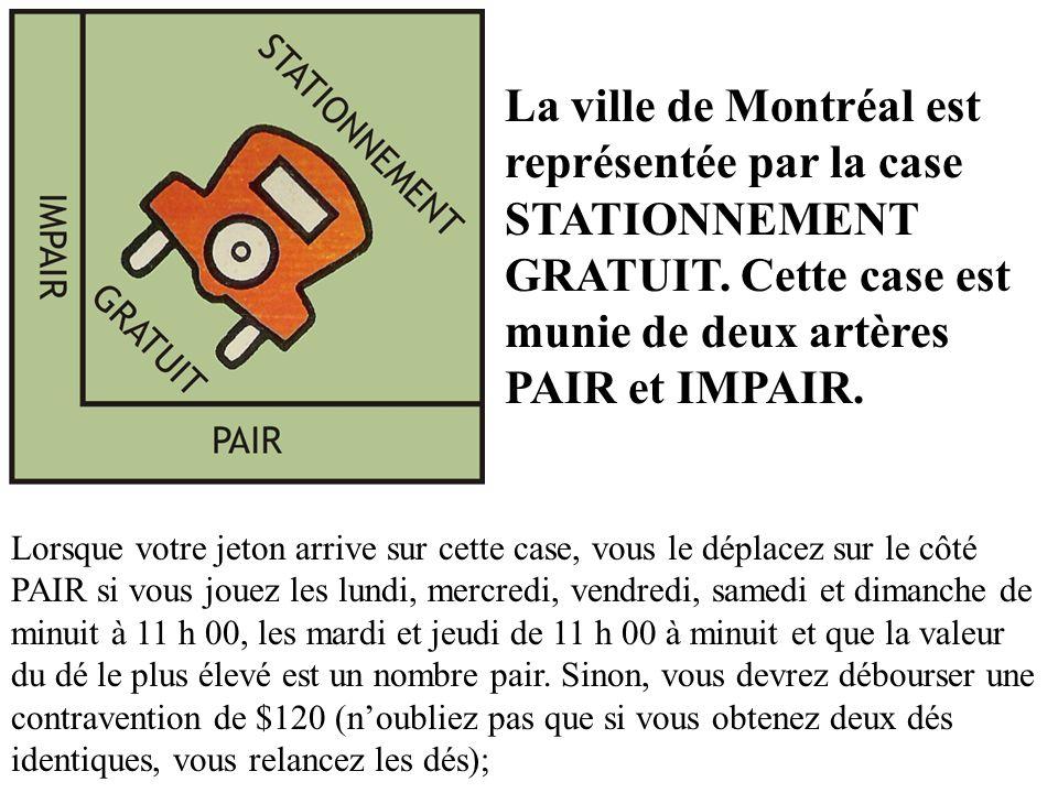 La ville de Montréal est représentée par la case STATIONNEMENT GRATUIT. Cette case est munie de deux artères PAIR et IMPAIR. Lorsque votre jeton arriv