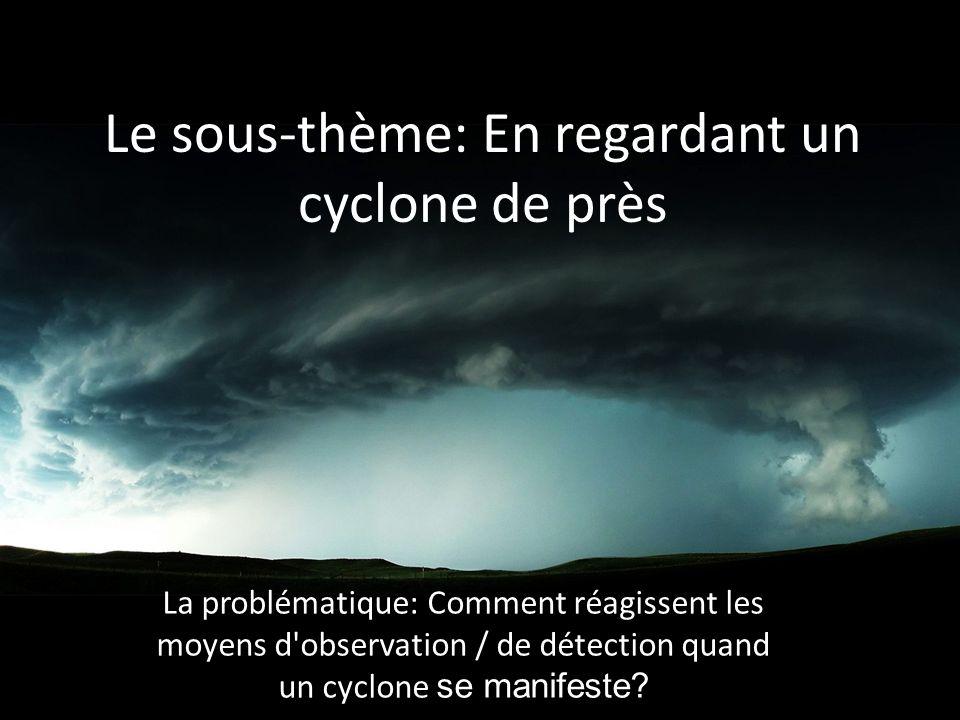 Le sous-thème: En regardant un cyclone de près La problématique: Comment réagissent les moyens d observation / de détection quand un cyclone se manifeste