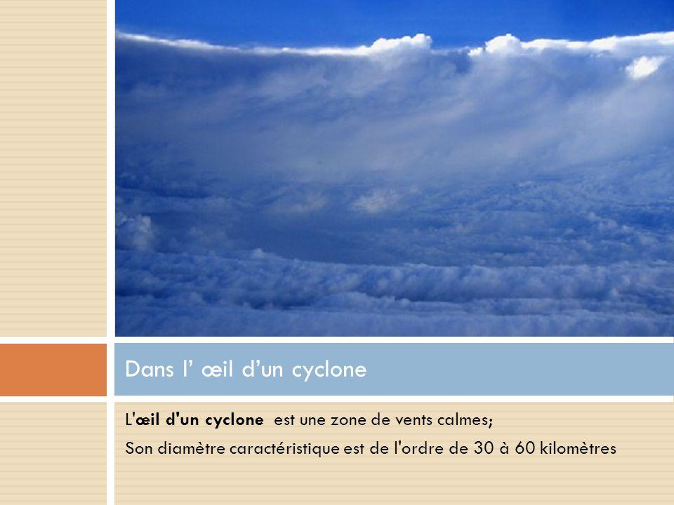 L œil d un cyclone est une zone de vents calmes; Son diamètre caractéristique est de l ordre de 30 à 60 kilomètres Dans l' œil d'un cyclone