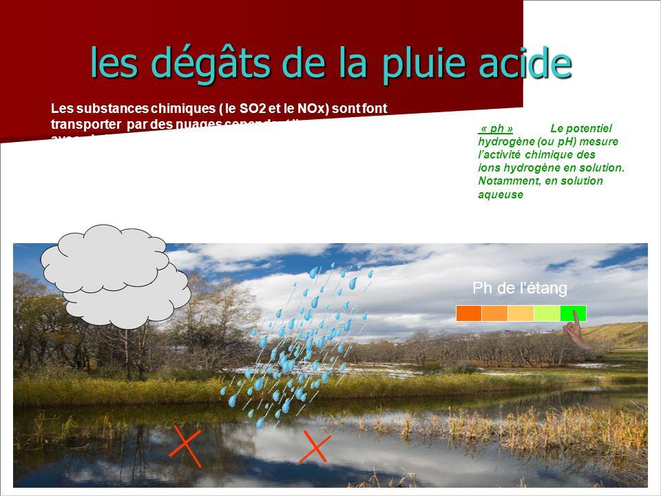 les dégâts de la pluie acide Les substances chimiques ( le SO2 et le NOx) sont font transporter par des nuages cependant ils se sont mélangé avec de l