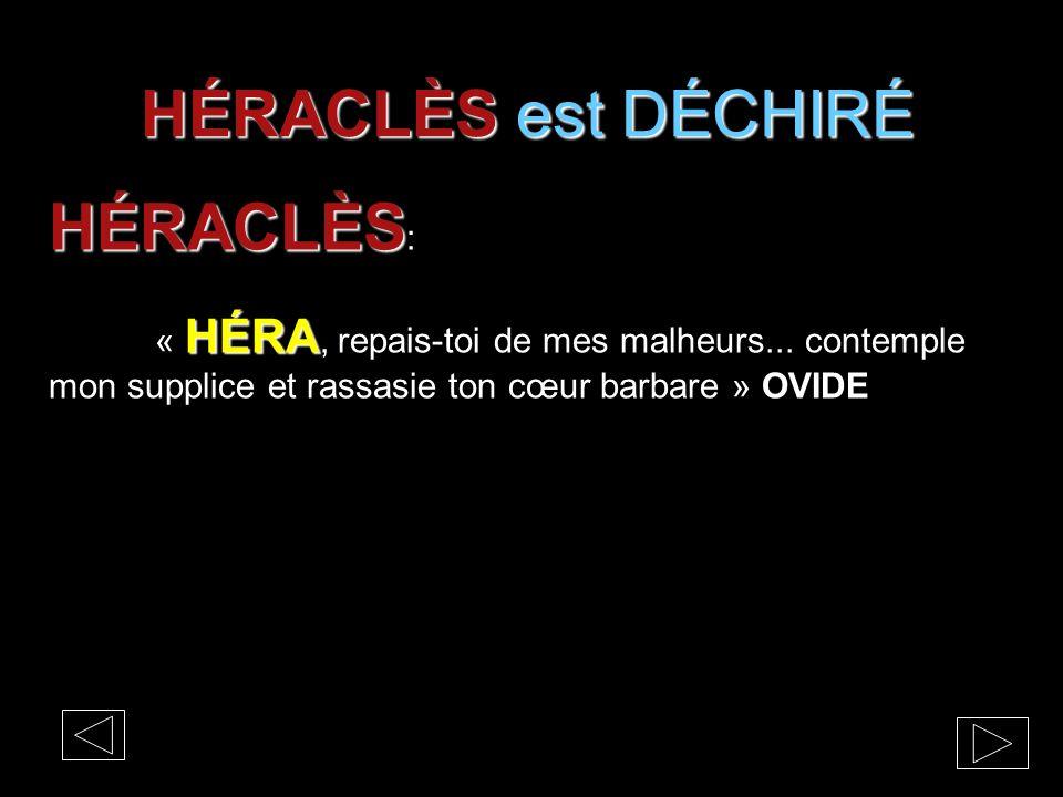 HÉRACLÈS est DÉCHIRÉ HÉRACLÈS HÉRACLÈS : HÉRA « HÉRA, repais-toi de mes malheurs... contemple mon supplice et rassasie ton cœur barbare » OVIDE