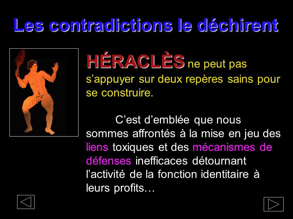 Les contradictions le déchirent HÉRACLÈS HÉRACLÈS ne peut pas s'appuyer sur deux repères sains pour se construire. C'est d'emblée que nous sommes affr