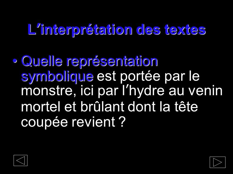 L'interprétation des textes Quelle représentation symboliqueQuelle représentation symbolique est portée par le monstre, ici par l'hydre au venin morte