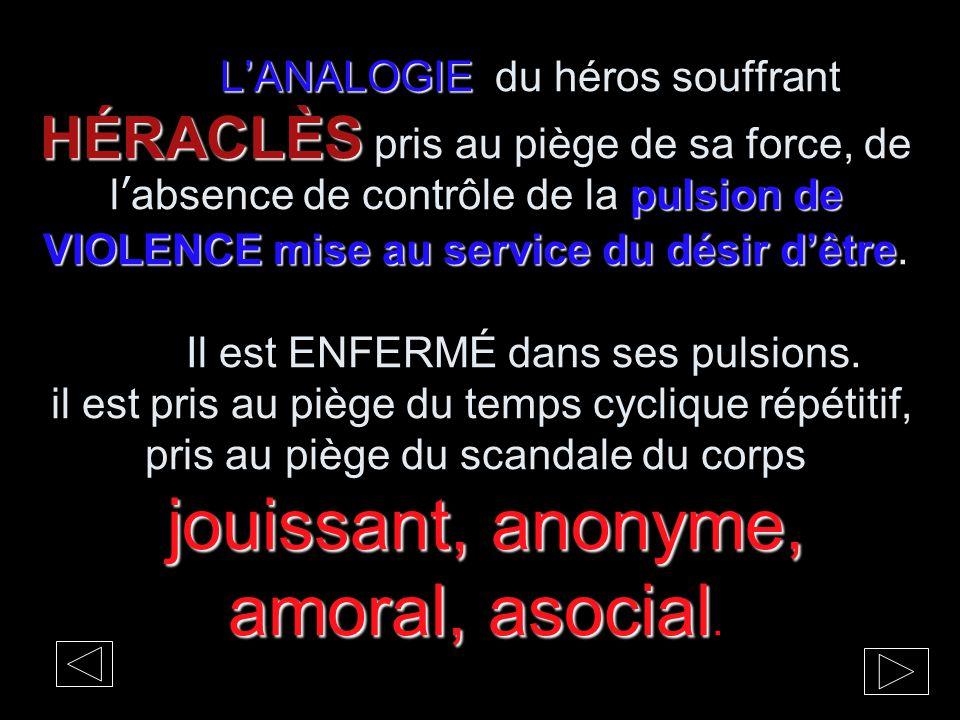 L'ANALOGIE HÉRACLÈS pulsion de VIOLENCE mise au service du désir d'être jouissant, anonyme, amoral, asocial L'ANALOGIE du héros souffrant HÉRACLÈS pri
