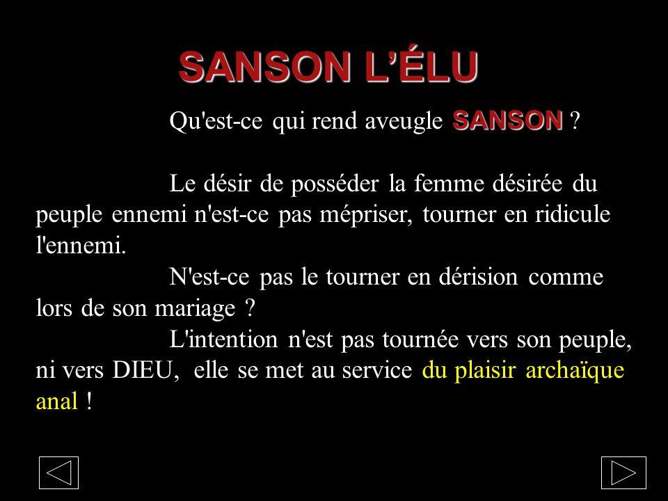 SANSON Qu'est-ce qui rend aveugle SANSON ? Le désir de posséder la femme désirée du peuple ennemi n'est-ce pas mépriser, tourner en ridicule l'ennemi.