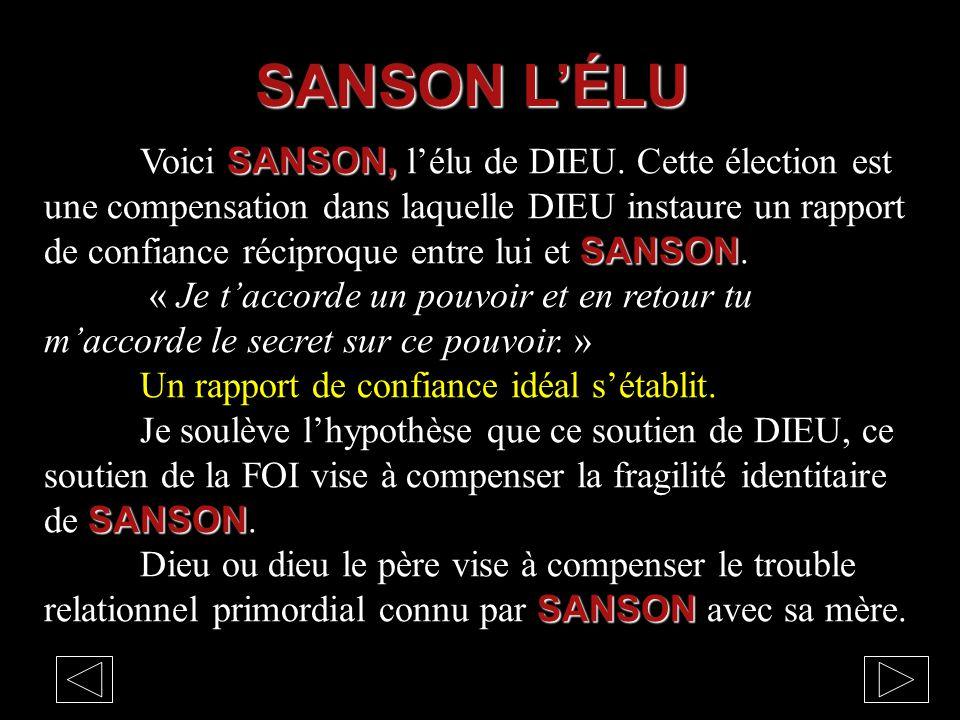 SANSON, SANSON Voici SANSON, l'élu de DIEU. Cette élection est une compensation dans laquelle DIEU instaure un rapport de confiance réciproque entre l