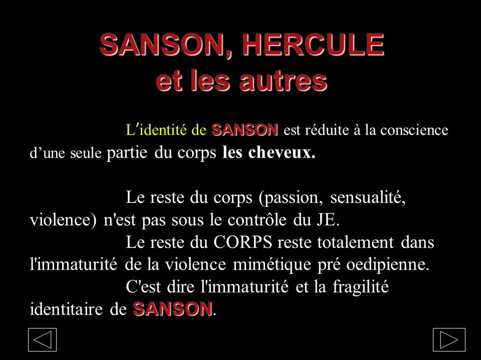 SANSON L'identité de SANSON est réduite à la conscience d'une seule partie du corps les cheveux. Le reste du corps (passion, sensualité, violence) n'e