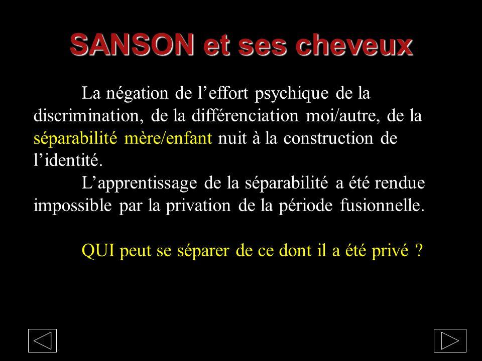 SANSON et ses cheveux La négation de l'effort psychique de la discrimination, de la différenciation moi/autre, de la séparabilité mère/enfant nuit à l