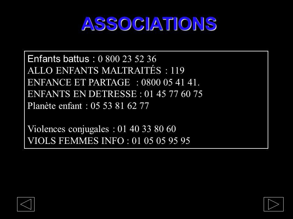 ASSOCIATIONS Enfants battus : 0 800 23 52 36 ALLO ENFANTS MALTRAITÉS : 119 ENFANCE ET PARTAGE : 0800 05 41 41. ENFANTS EN DETRESSE : 01 45 77 60 75 Pl