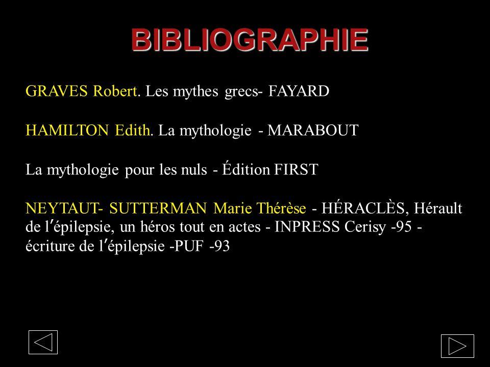 BIBLIOGRAPHIE GRAVES Robert. Les mythes grecs- FAYARD HAMILTON Edith. La mythologie - MARABOUT La mythologie pour les nuls - Édition FIRST NEYTAUT- SU