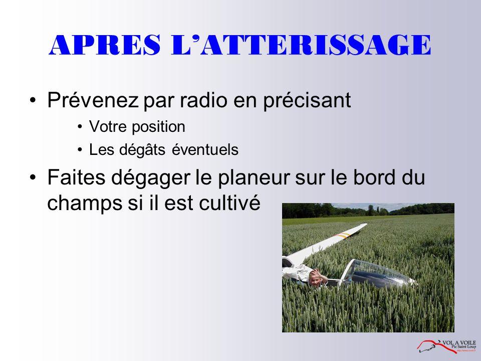 APRES L'ATTERISSAGE Prévenez par radio en précisant Votre position Les dégâts éventuels Faites dégager le planeur sur le bord du champs si il est cultivé