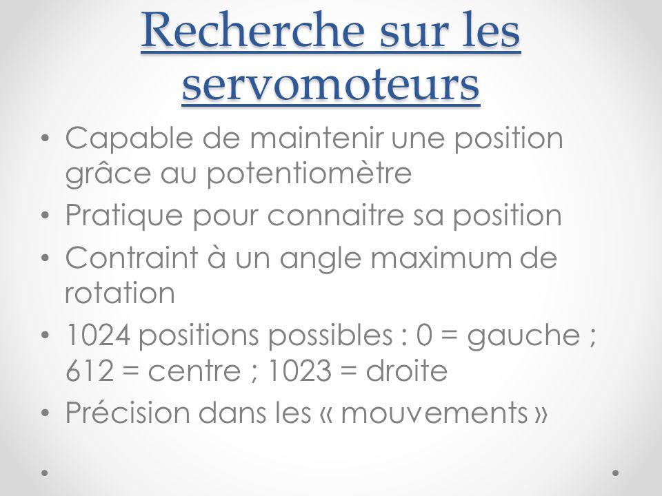 Recherche sur les servomoteurs Capable de maintenir une position grâce au potentiomètre Pratique pour connaitre sa position Contraint à un angle maximum de rotation 1024 positions possibles : 0 = gauche ; 612 = centre ; 1023 = droite Précision dans les « mouvements »