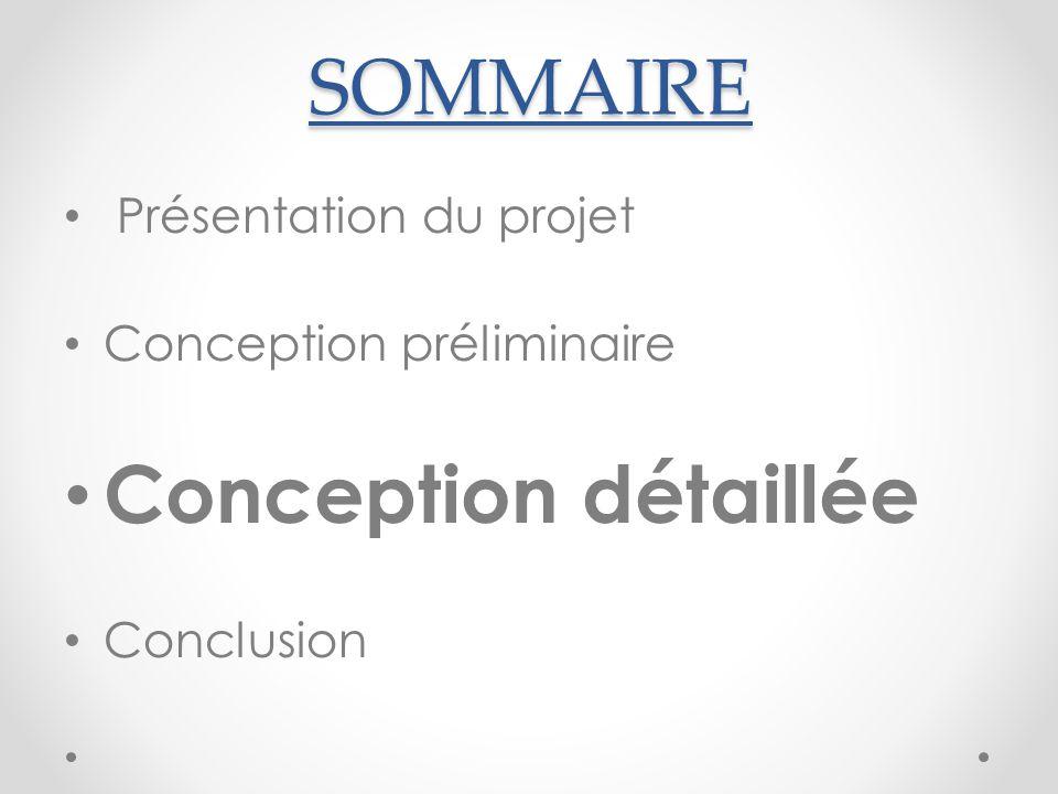 SOMMAIRE Présentation du projet Conception préliminaire Conception détaillée Conclusion