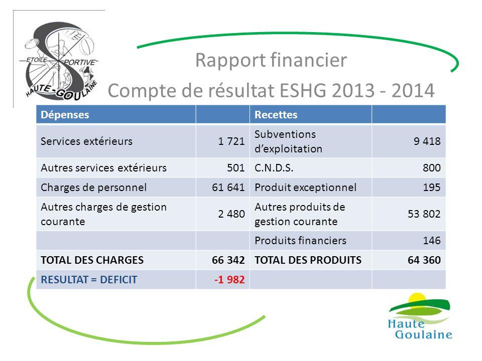 Rapport financier Compte de résultat ESHG 2013 - 2014 DépensesRecettes Services extérieurs1 721 Subventions d'exploitation 9 418 Autres services extér