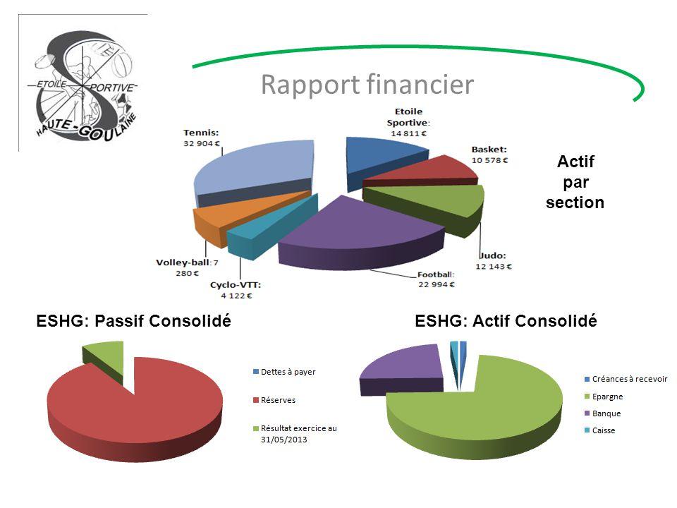 Rapport financier ESHG: Passif ConsolidéESHG: Actif Consolidé Actif par section