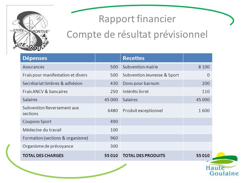 Rapport financier Compte de résultat prévisionnel DépensesRecettes Assurances500Subvention mairie8 100 Frais pour manifestation et divers500Subvention