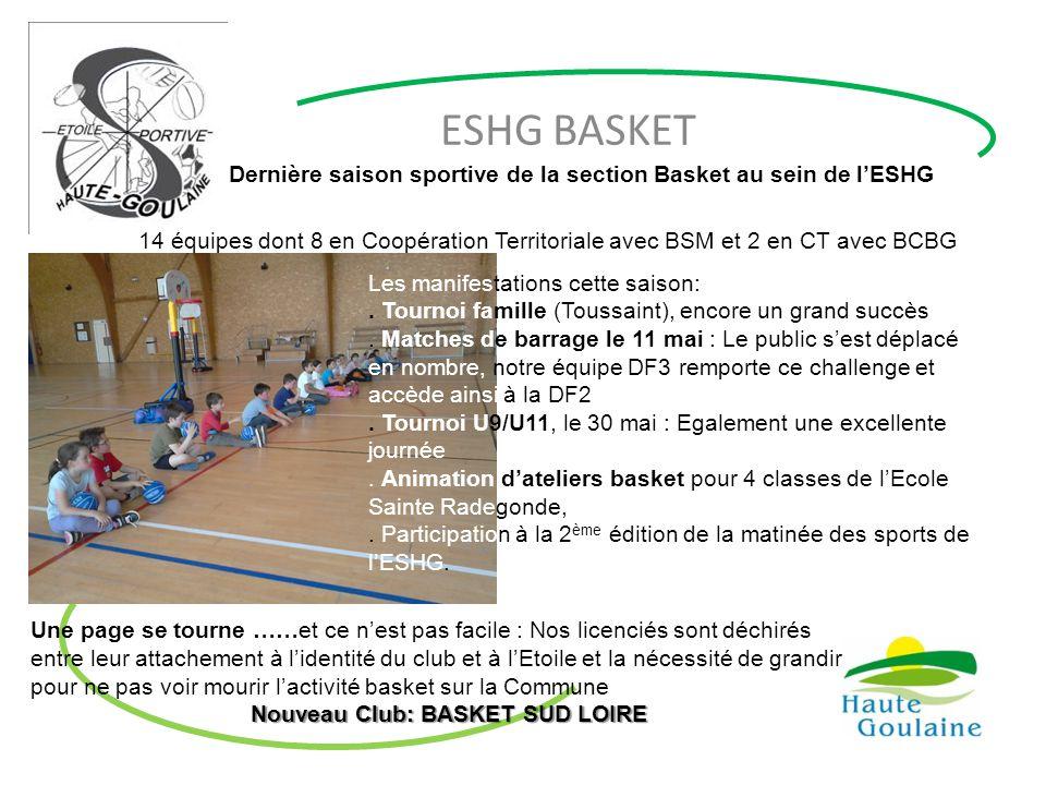 ESHG BASKET Dernière saison sportive de la section Basket au sein de l'ESHG 14 équipes dont 8 en Coopération Territoriale avec BSM et 2 en CT avec BCB