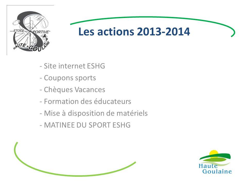 Les actions 2013-2014 - Site internet ESHG - Coupons sports - Chèques Vacances - Formation des éducateurs - Mise à disposition de matériels - MATINEE