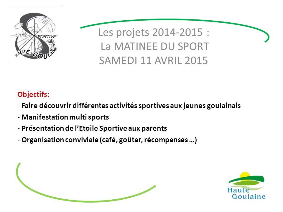 Les projets 2014-2015 : La MATINEE DU SPORT SAMEDI 11 AVRIL 2015 Objectifs: - Faire découvrir différentes activités sportives aux jeunes goulainais -