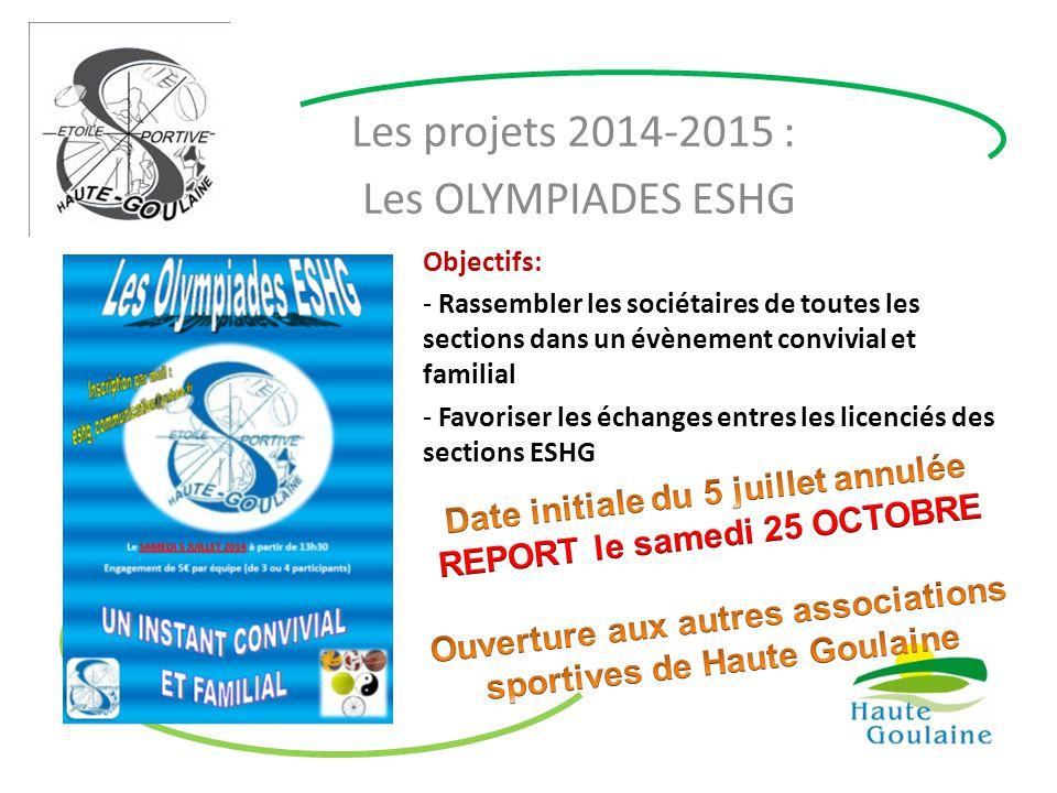 Les projets 2014-2015 : Les OLYMPIADES ESHG Objectifs: - Rassembler les sociétaires de toutes les sections dans un évènement convivial et familial - F